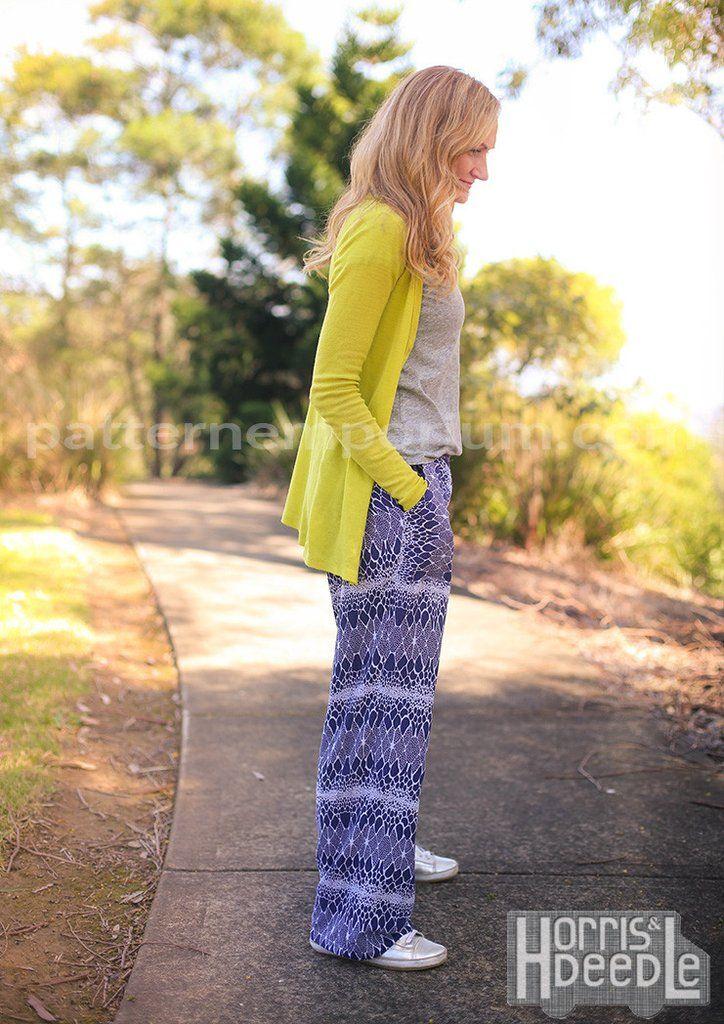 PDF Pattern: Ladies Coco Wide Leg Pants sewing pattern. Rayon.