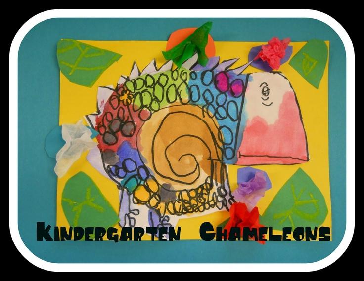 """Kindergarten Chameleons based on book titled """"Chameleon's Colors"""" by Chisato Tashiro from The Elementary Art Room!"""