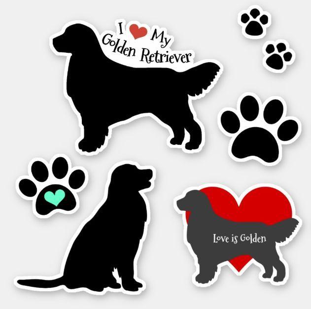 Golden Retriever Silhouette And Pawprints Group Sticker Zazzle