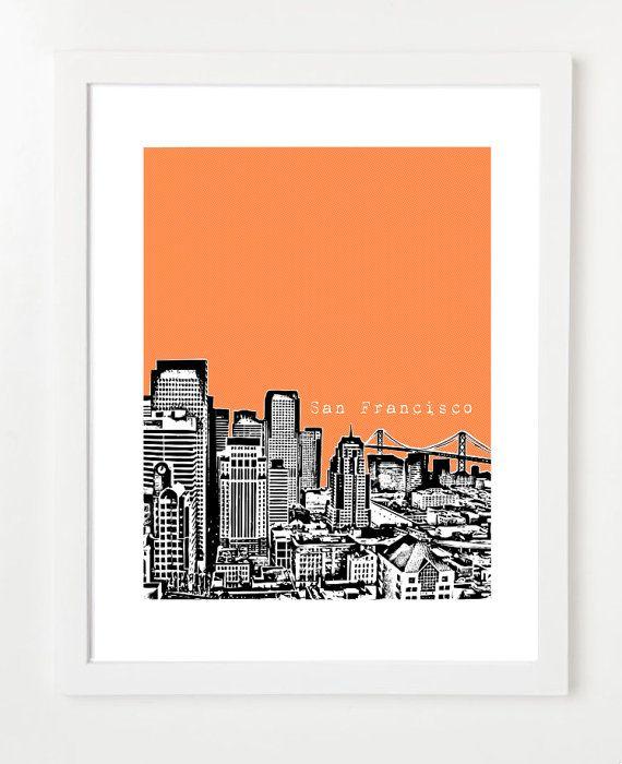San Francisco Skyline Poster City Skyline Art by BugsyAndSprite, $20.00