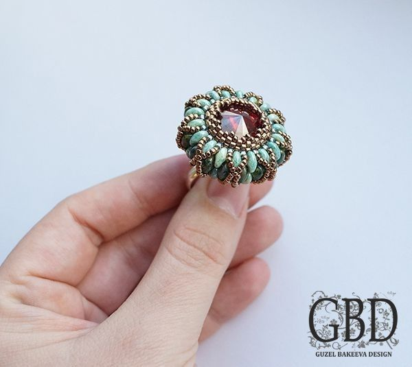 """Free Beading Pattern """"Snake Eyes"""" Ring from Guzel Bakeeva Design featured in recent Bead-Patterns.com Newsletter!"""