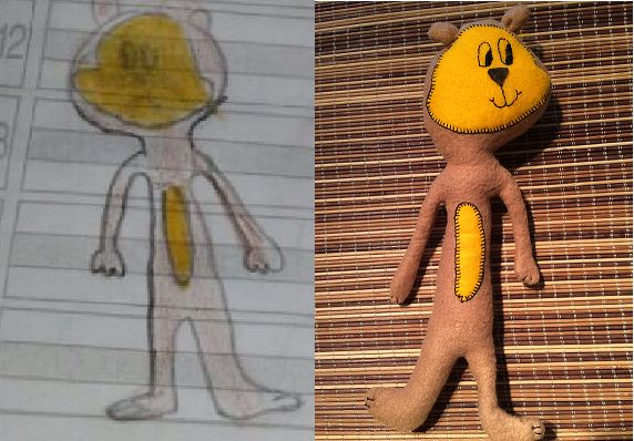Buba, dibujo de Salome de 8 años. Sorpresa de la tía Adriana.