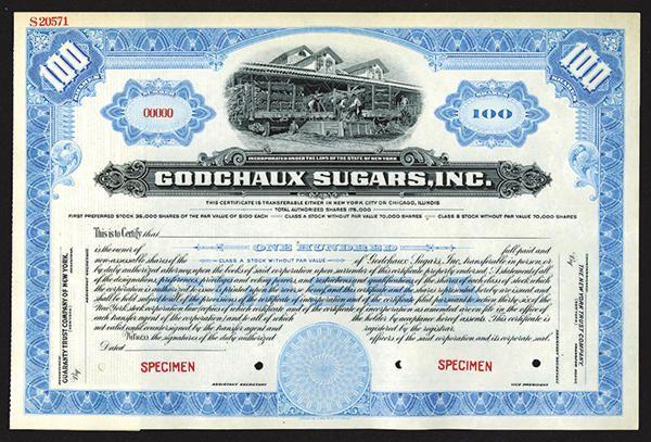 NumisBids: Archives International Auctions Auction 24, Lot 769 : Godschaux Sugars, Inc. Specimen Shares. 1909. New York incorporation,...