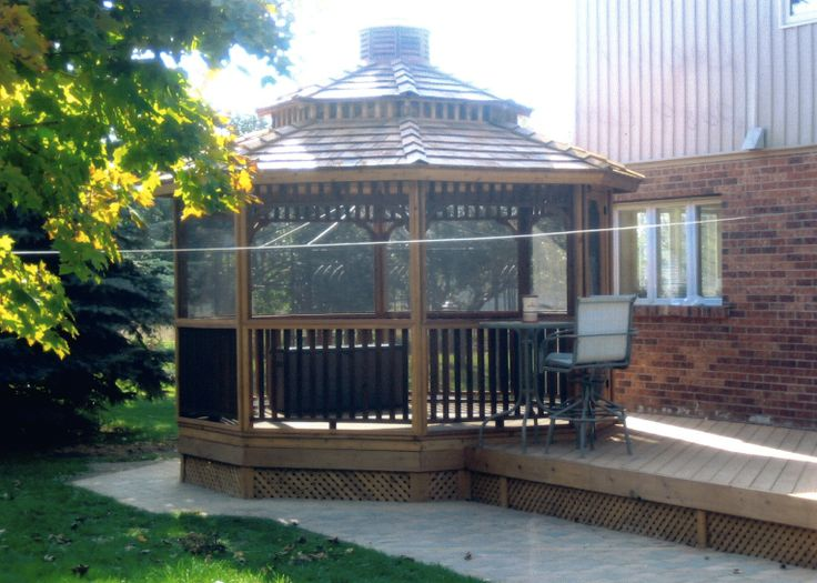 Customize your octagon gazebo with a screen kit available for Home hardware gazebo plans
