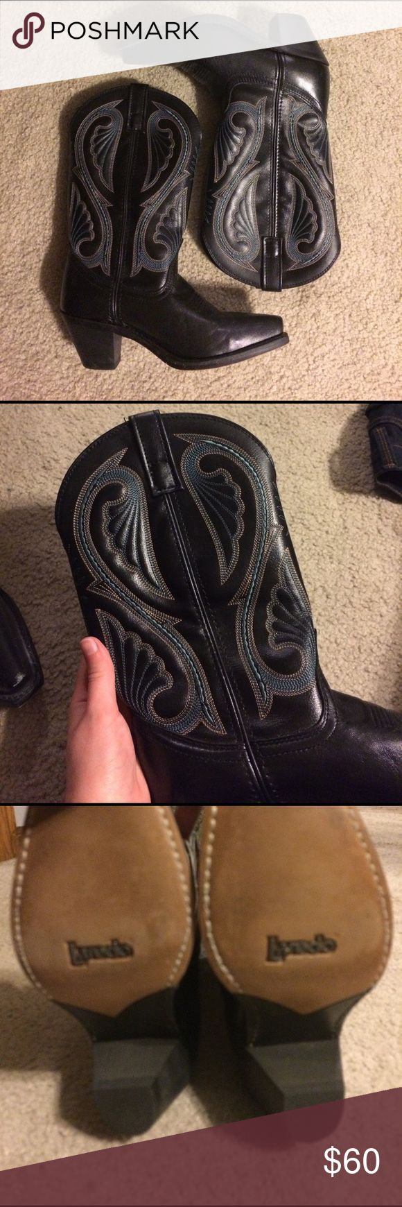 Black & teal Laredo cowboy boots! Brand new authentic Laredo boots with teal detail! Purchased from this site, but never worn cause they were too small on me! Will fit a size 6.5 or 7 Laredo Shoes Heeled Boots