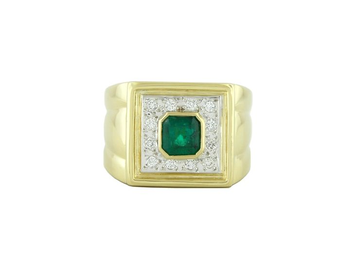 18K white and yellow gold emerald and diamond ring with 0.68 Ct. emerald cut natural emerald and 0.20 Ct. t.w. in 12 round cut diamonds