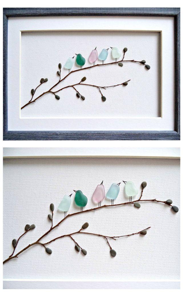 Sea Glass Art Birds Pebble Art New Home Housewarming Gift Etsy Sea Glass Art Pebble Art Bird Wall Art