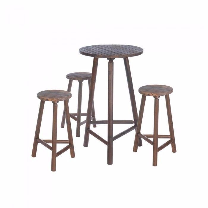 """FIR WOOD BAR TABLE AND STOOLS SET  Entertain in style with this lovely wooden high-top table and stool set. Made from fir and pine, youll have the best seat in the house or even outside to enjoy snacks, beverages or a complete meal. Comes with 3 stools and table.  Table: 26 3/4"""" diameter x 42"""" high; chairs: 13"""" diameter x 26"""" high."""