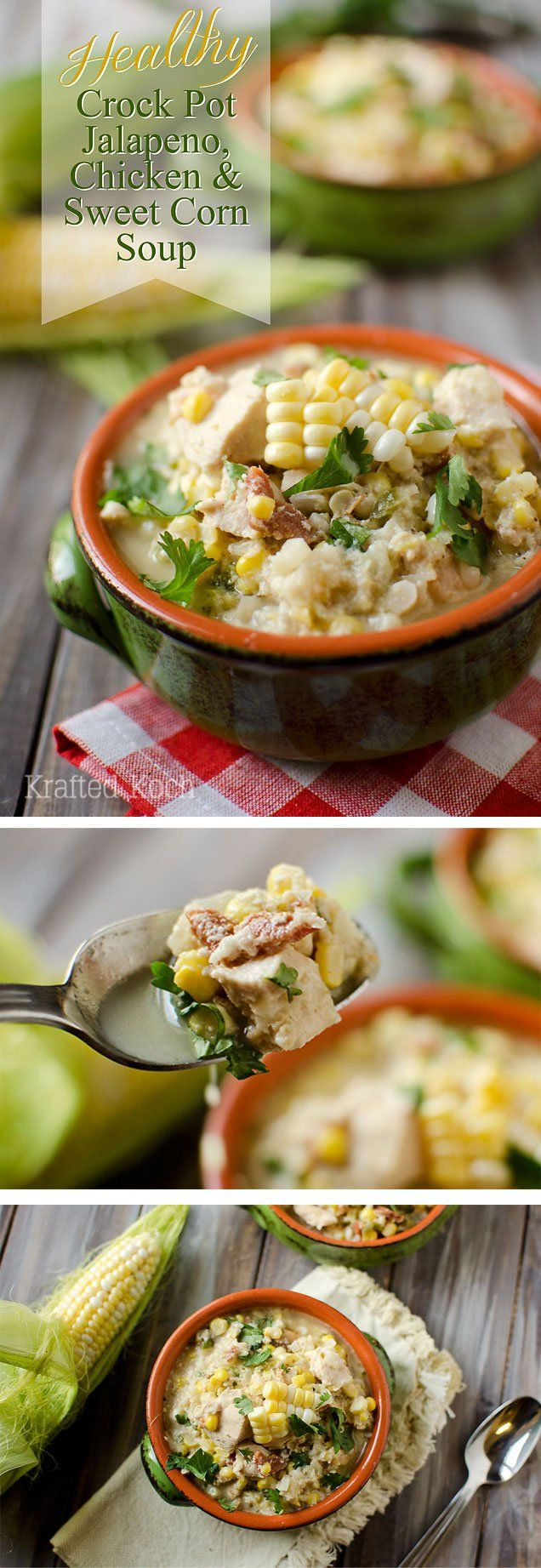 Healthy Crock Pot Jalapeno, Chicken & Sweet Corn Soup is a light soup recipe you can make in your slow cooker for a delicious dinner everyone will love! Krafted Koch #Soup #Recipe #Healthy