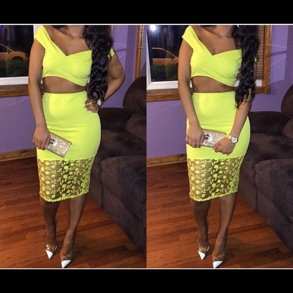 Neon yellow skirt and top! Neon yellow skirt and top. Worn once! In brand new condition! Size: Small Dresses Midi
