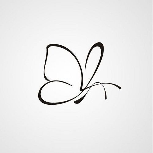 Black + Butterfly + Tattoo + Outline