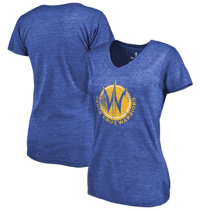 Santa Cruz Warriors Fanatics Branded Women's Distressed Primary Tri-Blend V-Neck T-Shirt - Royal
