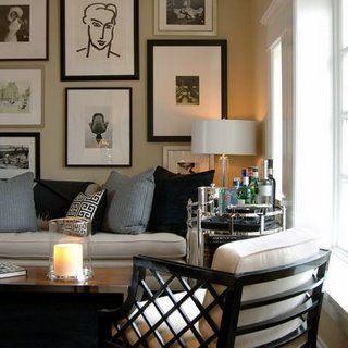 David Jimenez   Living Rooms   Art Above Sofa, Art Over Sofa, Oval Bar  Cart, Living Room Bar Cart, Photo Gallery! Love The Soft Beige Mixed.