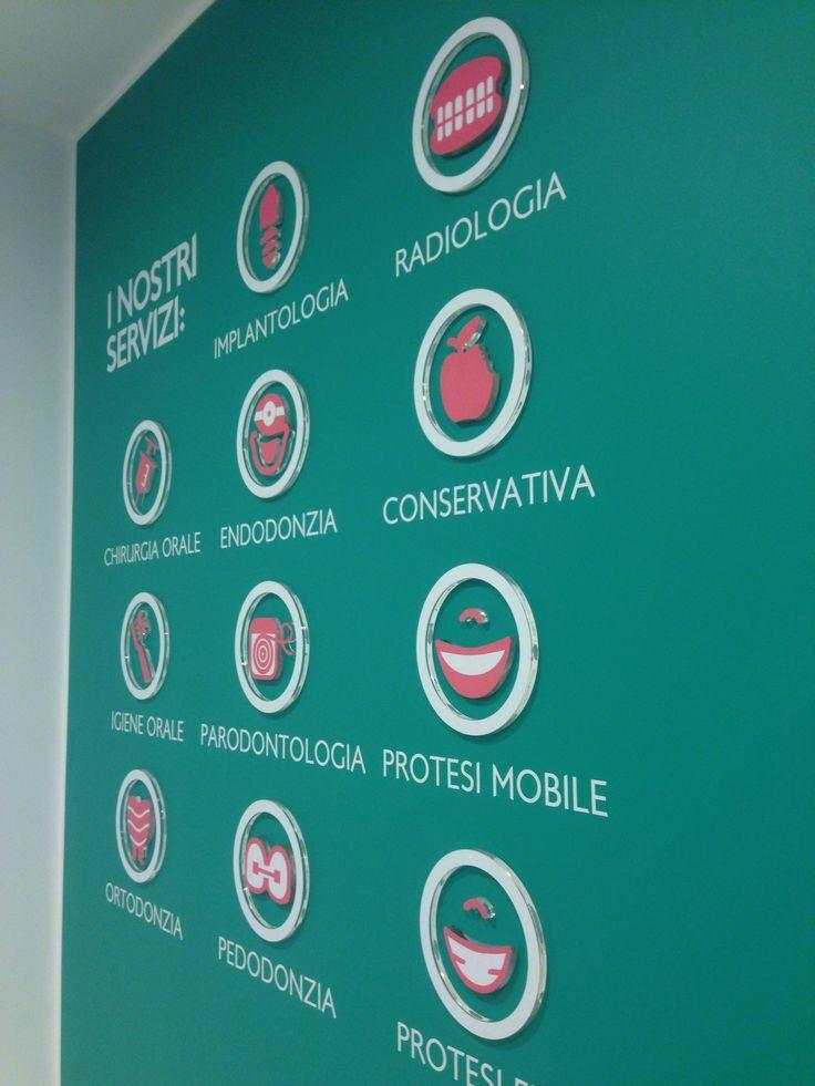 Parete ingresso DentiDOC Opera, le cliniche odontoiatriche italiane. Tutti i servizi, a portata di mano. #DentiDOC