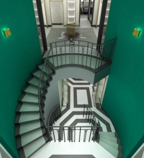 Fivestory: Wall Colors, Stairca Design, Green Wall, Interiors Design, Black White, Green Stairways, Kelly Green, Geometric Design, Art Deco Interiors