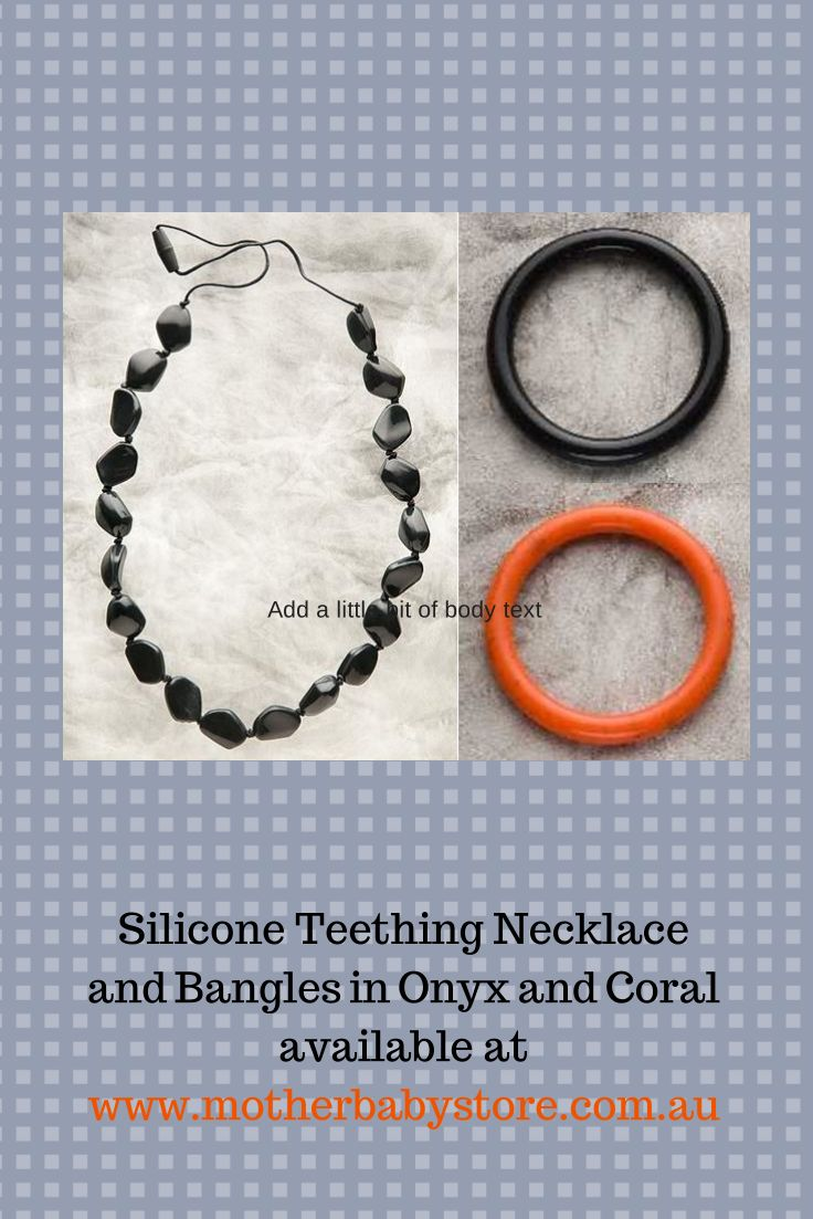 Teething Jewellery available at www.motherbabystore.com.au  Onyx Gemstone Necklace, Onyx Bangle and Coral Bangle