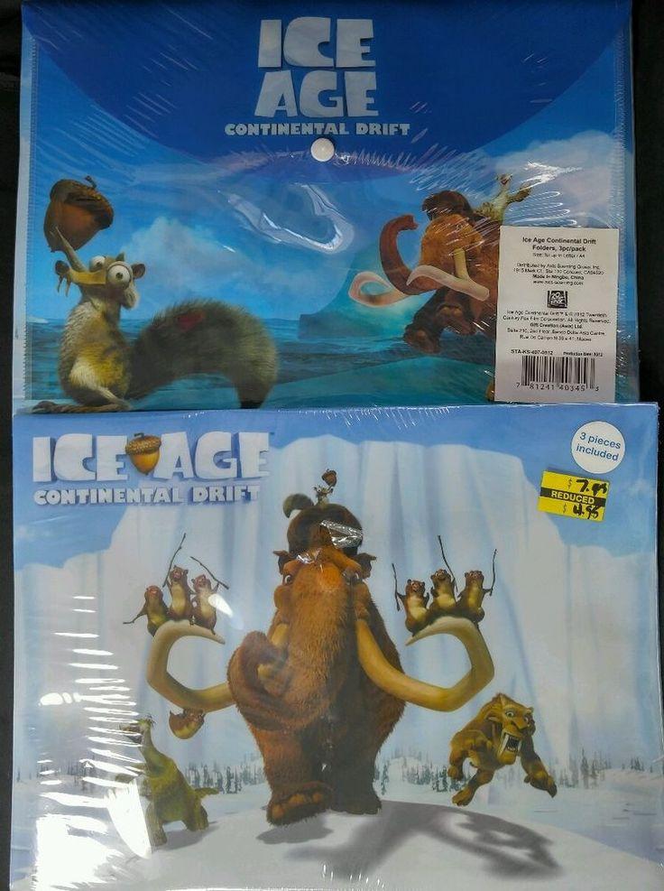 "Disney Pixar Ice Age folder 6pc Continental Drift / 6 carpetas ""La era de Hielo"" #IceAgeContinentalDrift"