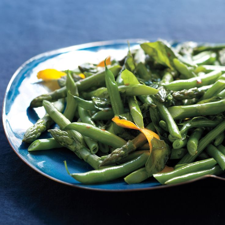 The chili-orange oil gives an extra sizzle to these spring vegetables.