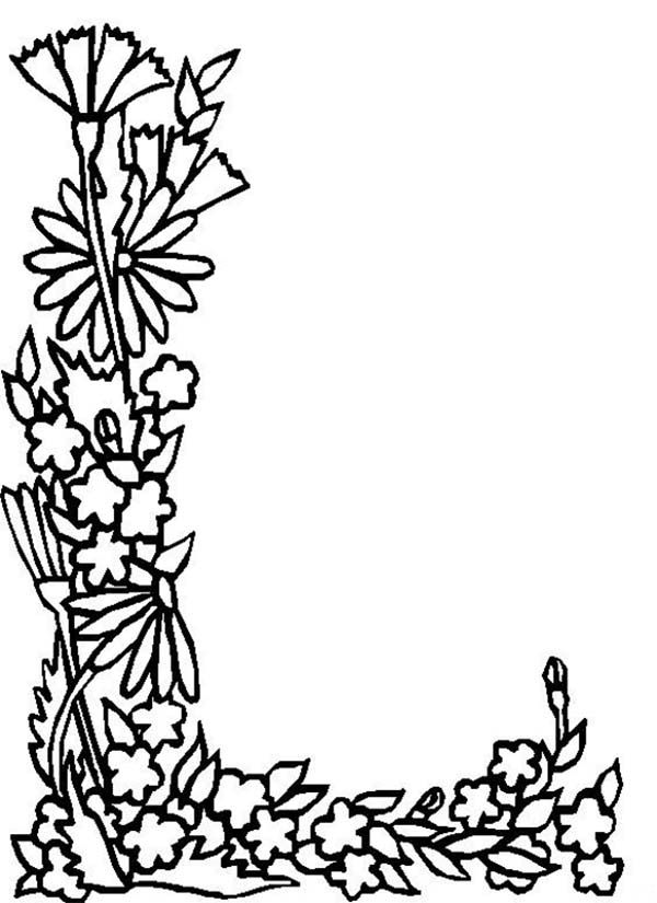 alphabet flowers letter l coloring pages free images
