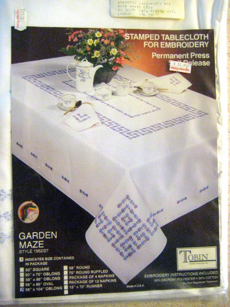 "Tablecloth Stamped Embroidery Tablecloth  Kit - Tobin Garden Maze style 1952/27 -58"" x 104"" -Embroidery kit -Designs By Willowcreek on Etsy by DesignsByWillowcreek on Etsy"