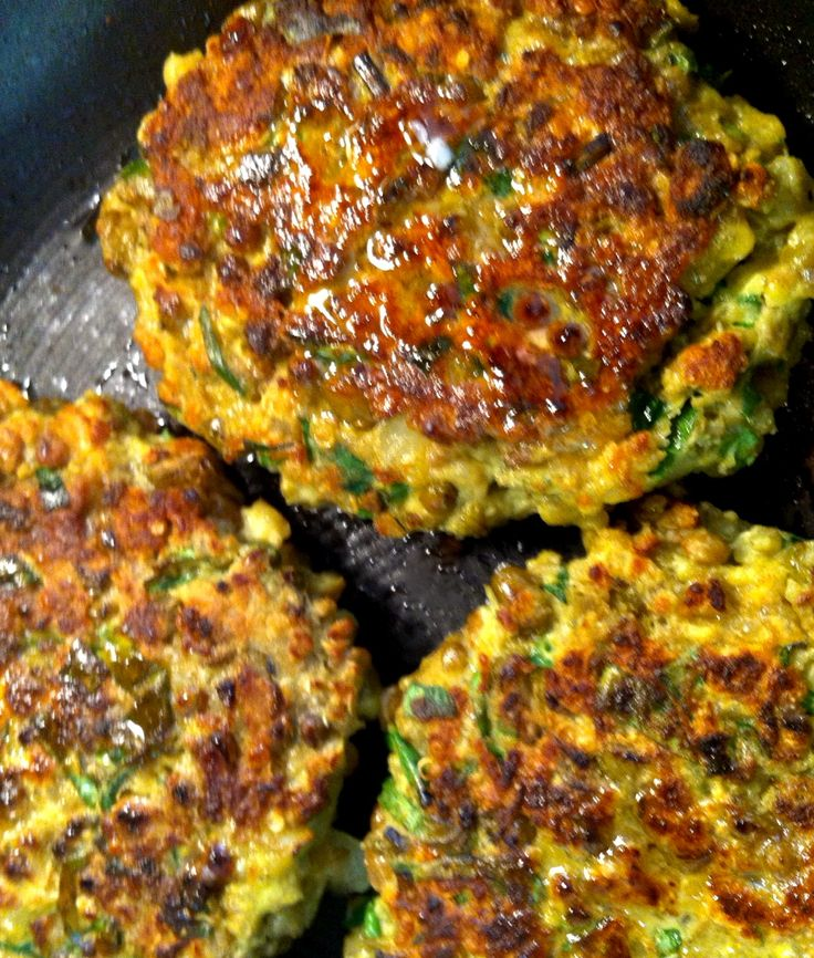 deliciously nutritious quinoa-mung bean-lentil cutlets: I ended up not having all these ingredients so I left out the fresh herbs and substituted curry for turmeric. They turned out great! Kind of a healthy comfort food. :)