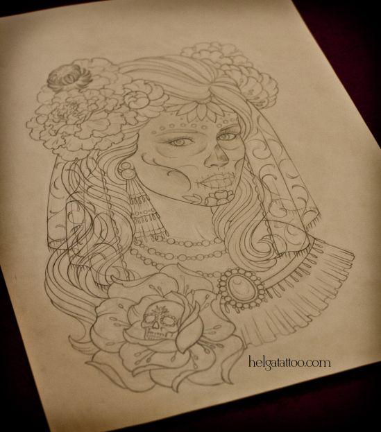 эскиз татуировки на тему день мертвых