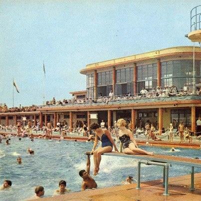 Saltdean lido, outdoor swimming pool in the late 1970s, Brighton, UK.