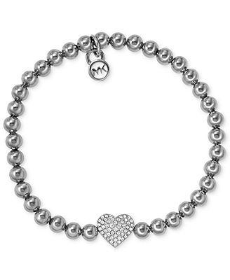 Michael Kors Bracelet, Silver-Tone Bead Crystal Heart Charm Bracelet