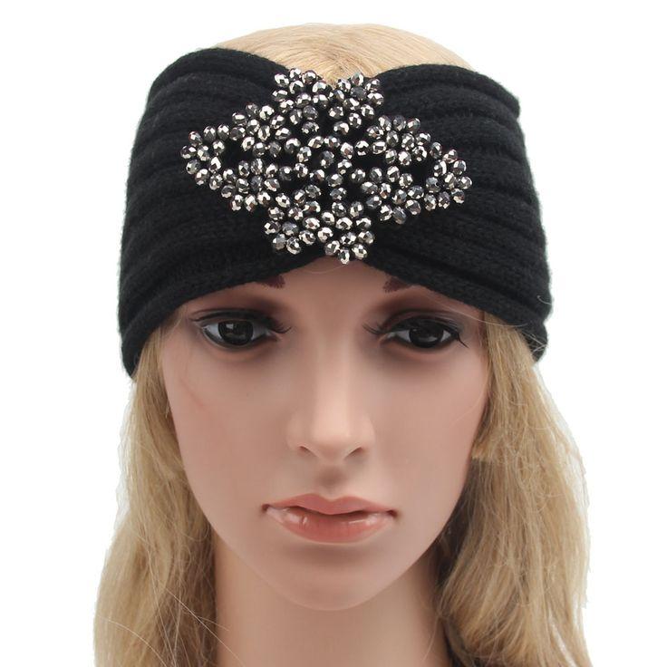 22*10cm Women Winter Knitted Headband Crochet Rhombus Rhinestone Hair Accessories Ladies Elastic Hair Bands  Muslim Head Band