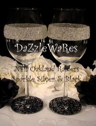 NFL Oakland RAIDERS Themed Set of 2 Beaded Wine by DaZzleWaRes