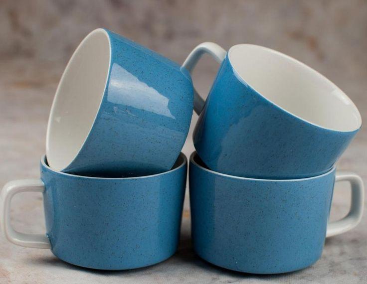 Mikasa MEDITERRANIA Forget Me Not BLUE coffee/tea mugs SET OF 4 #Mikasa