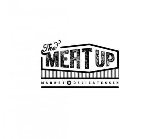 This name would be so perfect for a Restaurant/Bar. The Meat Up logo design by Andrea Falke