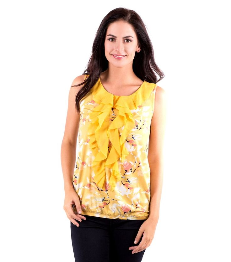 Ruffled Neckline Sleeveless Top with Flower Print - Front View Flower Branch
