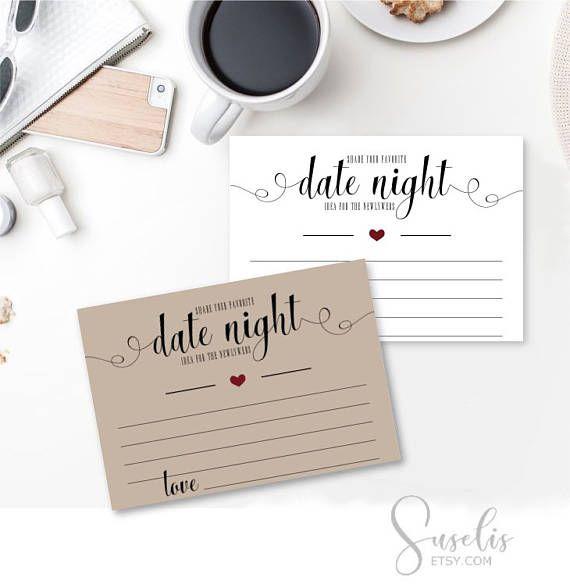 Date Night Cards Bridal Shower Game Bridal Printable Wedding