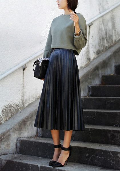 PU Midi Pleated Skirt- Features All Over Accordion