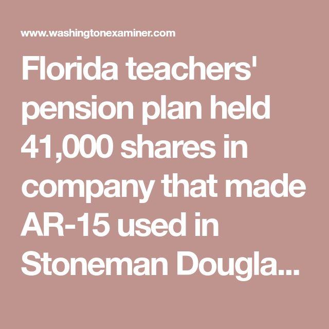 Florida teachers' pension plan held 41,000 shares in company that made AR-15 used in Stoneman Douglas shooting