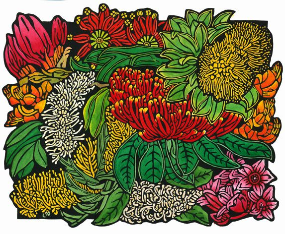 Northern NSW Rainforest Design - Limited Edition Handpainted Linocuts by Lynette Weir