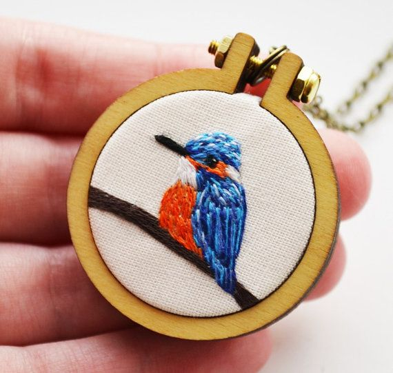 Miniature Embroidery Kingfisher Necklace or by PixiecraftHandmade