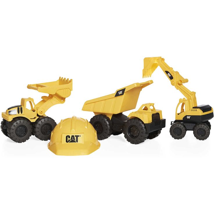 Great for outdoor play, the CAT Tough Track Construction Crew lets your little one don their hard hat and get to work! These freewheeling vehicles can push, load and carry dirt to wherever your little one please allowing for loads of fun.
