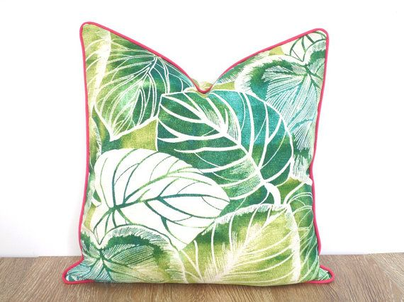 Green palm leaf pillow cover 18x18, outdoor bench cushion botanical print, tropical outdoor pillow cover, green and pink outside cushion
