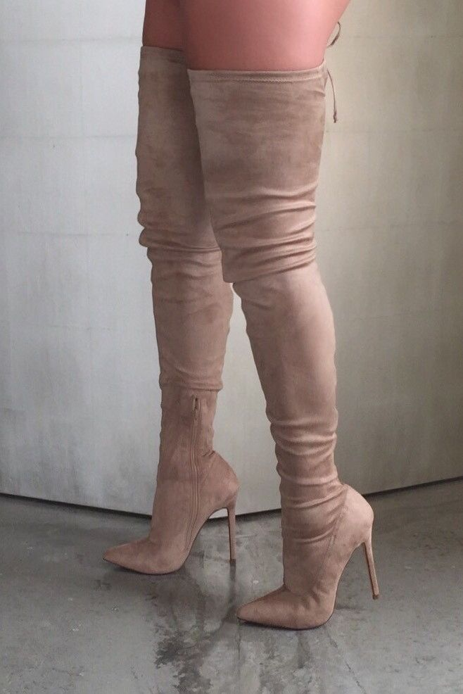 """SEXY STRETCH FAUX SUEDE THIGH HIGH BOOT FEATURES A POINTED TOE, STILETTO HEEL, SIDE ZIPPER CLOSURE AND TOP REAR CUT OUT AND TIE. Item runs 1/2 a size small, heel is 4 1/2"""". 4 1/2 INCH HEEL. BOOT ENTRY"""