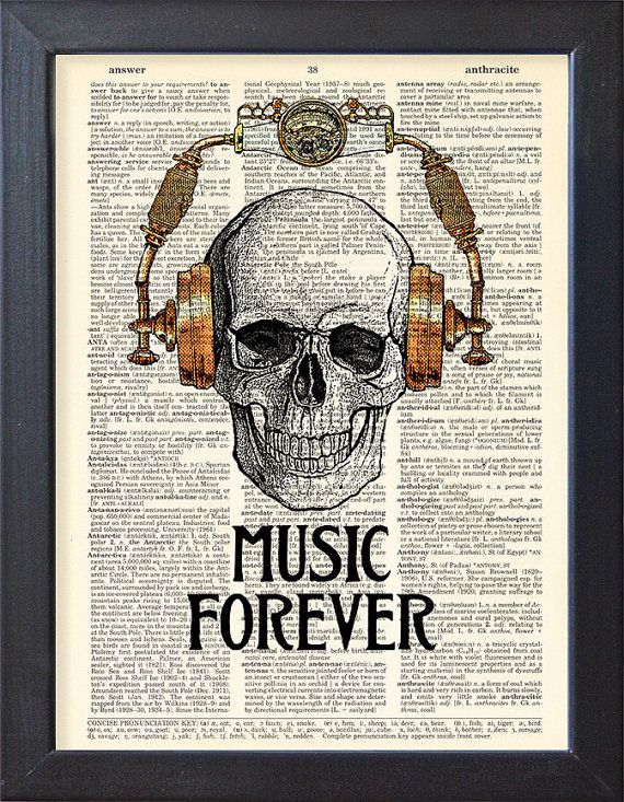 Skull in steampunk headphones Music forever Funny by Natalprint