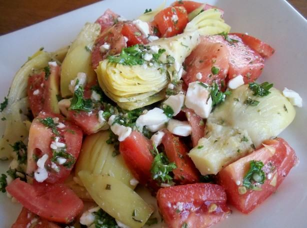 Artichoke Heart And Tomato Salad Recipe - Food.com ..this would be great as a filling for a pita sandwich or beautiful and tasty as a side salad