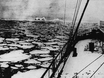 This photograph, taken by a different boat in mid-April 1912, shows the icy site where Titanic struck the killer iceberg. The crew of the Titanic received many warnings about dangerous ice along its path, but these messages were essentially ignored.