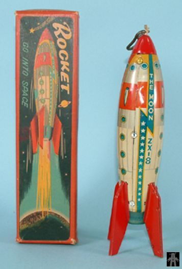 Space Rockets - HIGH SPEED ROCKET THE MOON ZX-8 - MARUSAN - JAPAN - ALPHADROME ROBOT AND SPACE TOY DATABASE