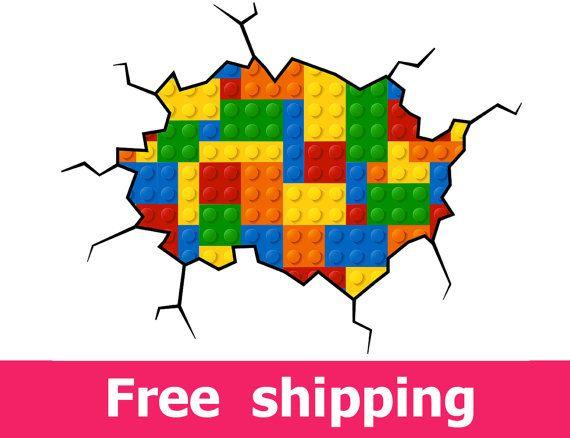 Geometric lego wall decal colored building blocks lego decal plastic construction blocks lego wall sticker illustration abstract art [FL086]