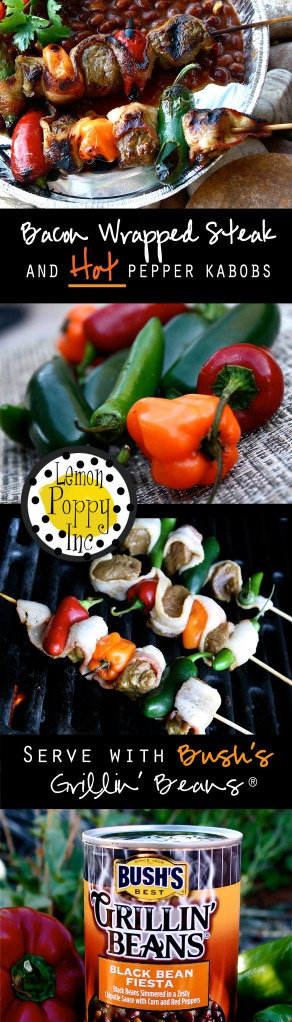 If you want a recipe that will BLOW away the competition at your summer BBQ, I am sharing a little SECRET!!! Bacon wrapped steak and Hot peppers, need I say more! Serve this up with Bush's Grillin' Beans for the perfect summer party!  **** Hoping this recipe will win me a trip out to meet Ree Drummond herself! A girl can dream.  Enjoy! www.lemonpoppycake.com - Lemon Poppy Inc.