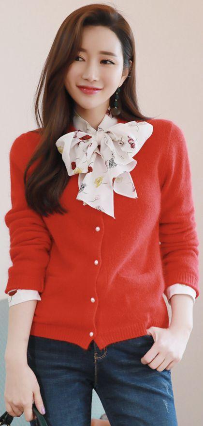 StyleOnme_Pearl Button Angora Wool Blend Cardigan #red #pearl #wool #caridgan #dailylook #koreanfashion #kstyle #kfashion #wintertrend