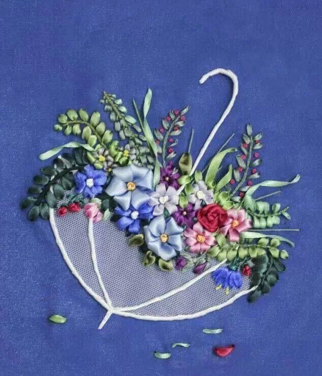 April showers bring May flowers.  Ribbon embroidery.  Beautiful flowers in an umbrella.