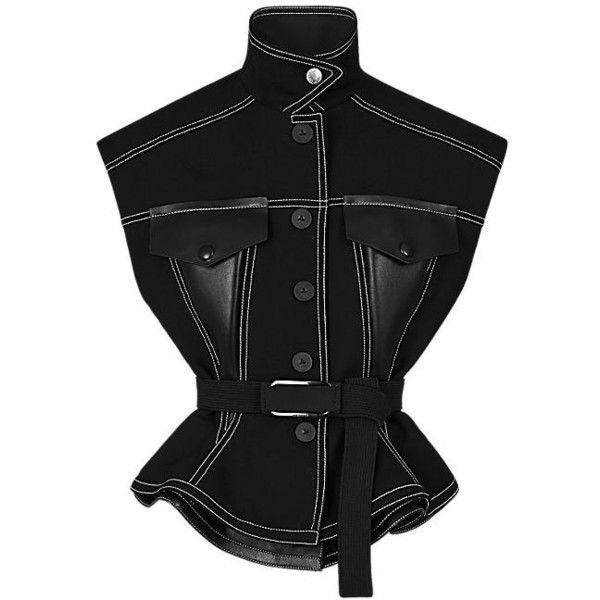 Veste ceinturée sans manches en laine ($940) ❤ liked on Polyvore featuring outerwear, vests and vest waistcoat